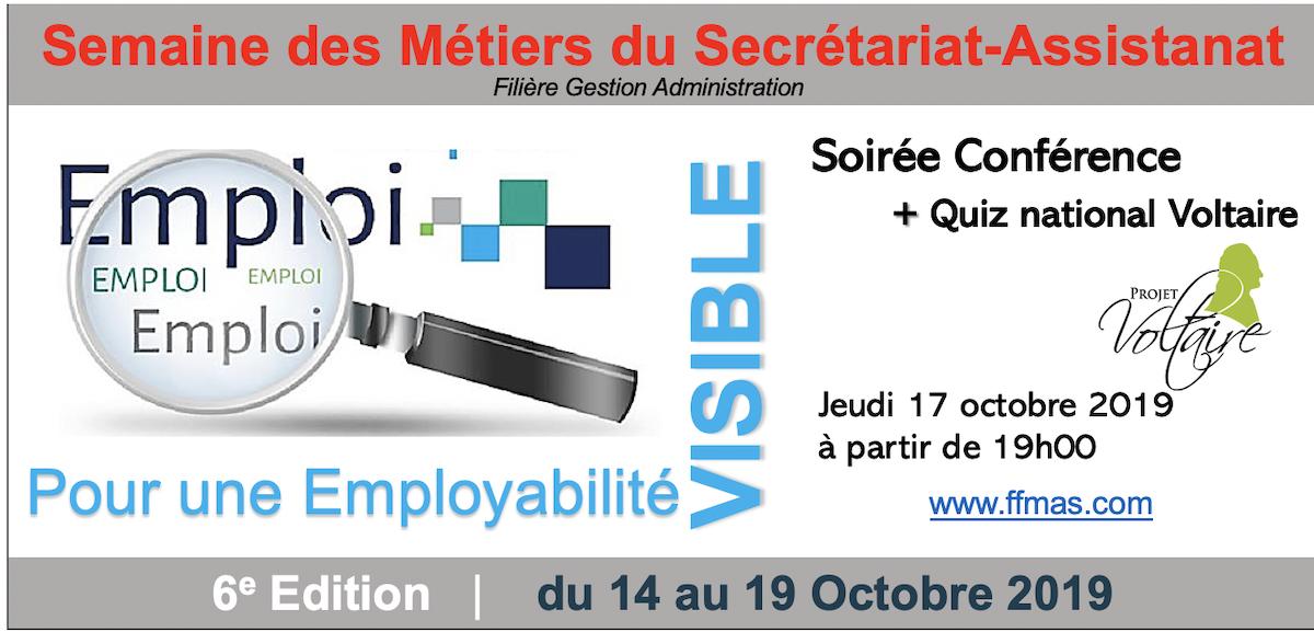 """Soirée spéciale """"Quiz National Projet Voltaire + Présentation du CPF"""" dans le cadre de la semaine des métiers Secrétariat-Assistanat"""