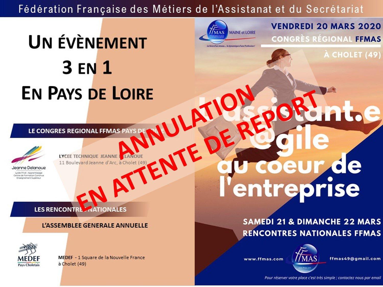 Congrès Régional FFMAS des Pays de la Loire à Cholet le 20 mars 2020
