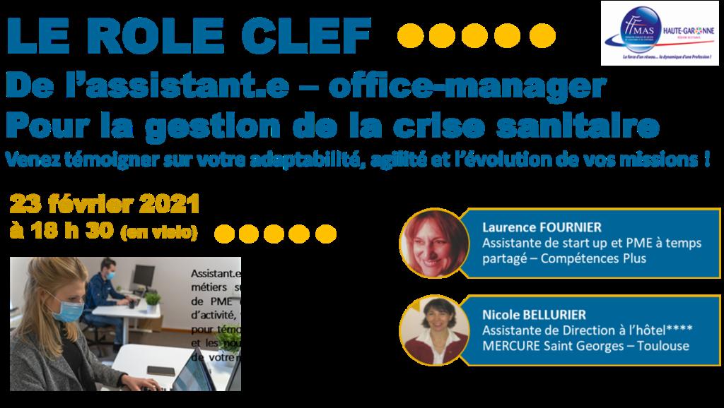 FFMAS31 – Occitanie – Le rôle clef de l'assistant.e de PME – office-manager pour la gestion de la crise sanitaire (visio) – 23/02 à 18h30 – Témoignages-Débats