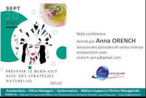 """PREVENIR LE """"BURN OUT"""" avec des stratégies naturelles – Web conférence 20 septembre à 18 h 45"""